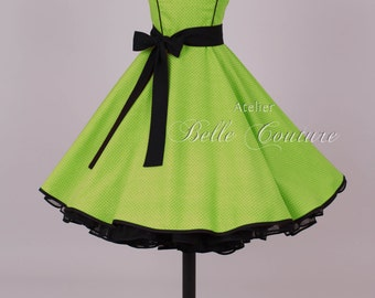 50s petticoat dress green/black item: 2806