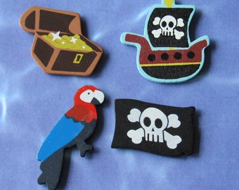 Pirate Magnet Set *ship,jolly Roger,parrot,treasure chest,pirate booty,kitchen decor,skull and crossbones,sea,sailing,fun gift