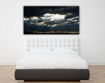 Stormy Sky Photograph, Wide Print Panorama Photo, Horizontal Wall Art, Cloudy Skies Photography, Sun Rays and Clouds Panoramic Photo Print