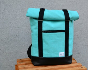 """Roll Top Backpack / Rucksack """"AHTI"""" made from waxed secondhand cotton, turquoise"""