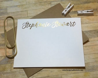 Personalized Cards - Gold Foil Note Cards - Personalized Gold Foil Stationery - Calligraphy Cards - Wedding Thank You Cards DM116