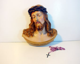 LARGE Jesus Wall Plaque Chalkware - Vintage Plaster Wall Decor Ecce Homo - Mid century Religious - Gorgeous Suffering Savior Crown of Thorns