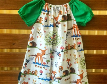 Girls Peasant Style Dress. Woodland Animals. Size 4
