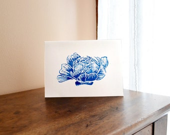 Peony Greeting Card Linocut A5