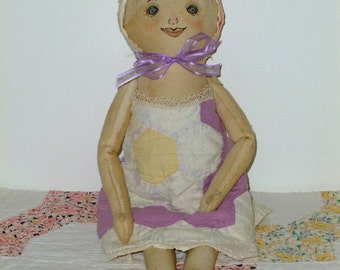 Country Primitive cloth stuffed doll, American made, one of a kind doll, country rustic decor, folk art, shelf sitter, coffee stained doll