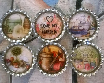 Six I Love My Garden Magnets on Silver Bottle Caps