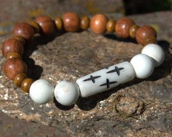 Wood & White Tribal cross bracelet - stackable - gender neutral - minimalist jewelry