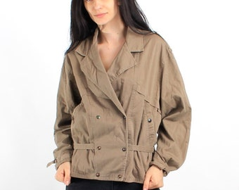 Vintage Cacao Cotton Military Crop Waisted Double Breasted Jacket Size M / L