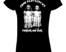 The Shining Twins T Shirt Come play with us Vintage horror movie  Stanley Kubrick cult classic!
