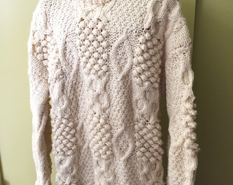 Vintage 100% Wool Hand Cable Knit Chunky Oversized Fishermans Sweater from Oporto Portugal 1991
