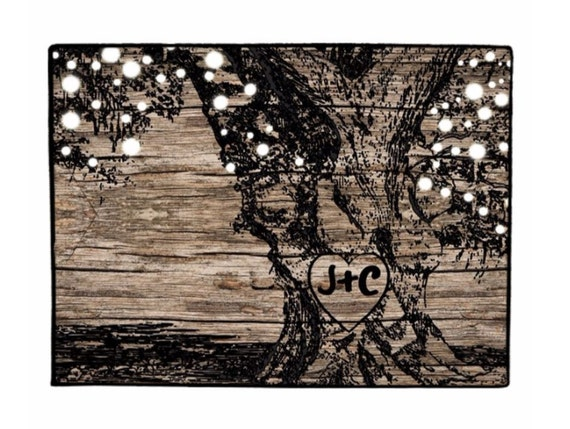 Door Mat Rustic Tree With Glowing Lights Doormat, Personalized Rustic Wedding Gift, Tree String Lights, Bridal Shower Gift, Wood Look