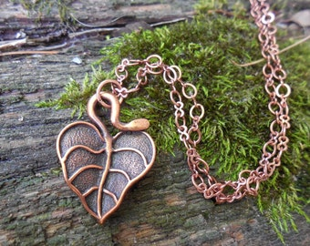Copper Heart Leaf Necklace Graduation Birthday Anniversary Seven 7 Wife Mom Daughter Oma Sister Fiancee Sweetheart Teen College Girlfriend