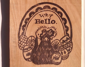 Chicken wooden postcard - Why Hello. Mail with 2 stamps