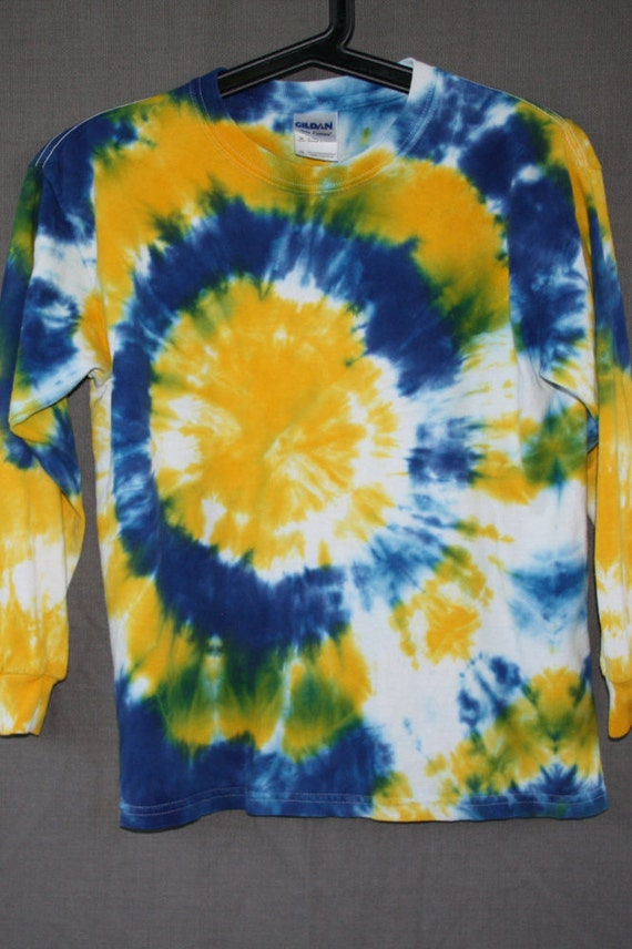 Hand Dyed Blue & Yellow Youth Long Sleeve Tie Dye