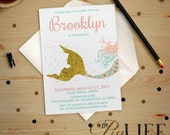 Gold Glitter Siren Mermaid Under The Sea Birthday Invitation Printable DIY No. I210