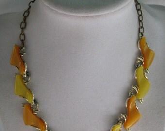 "1960's ART Signed Lemon and Tangerine Thermoset 16"" Choker Necklace"