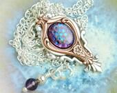 Art Nouveau Necklace Multicolor Necklace Mixed Metal Jewelry Victorian Amethyst Sapphire Pendant Copper Silver Renaissance Jewellery