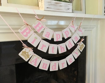 Princess Birthday Banner HAPPY BIRTHDAY Garland 1st Birthday Party Decoration Princess Party Decorations  Name Custom 2nd , 3rd etc Colors