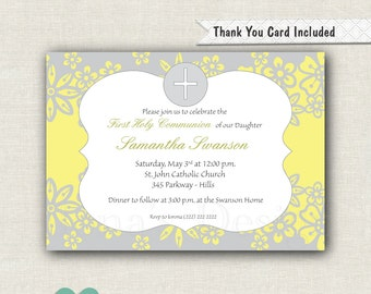 Floral First Holy Communion Invitation - Girl 1st Communion - Baptism Invitation - Christening Invite - Girl Baptism Invite