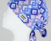 More Colors!!! - Surgical Tie Back/Pixie Scrub Hat for Women - Pastel Diamonds (Violet)