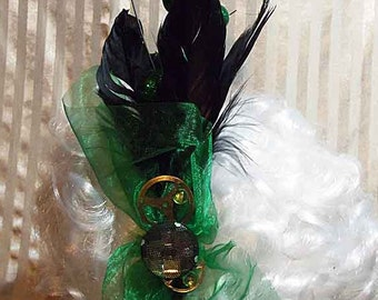Steampunk Lolita Green Gems & Gears Fascinator