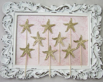 starfish cupcake toppers party decorations baby shower bridal shower beach wedding