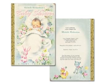Book themed baby shower invitation / printable baby shower invite / storybook theme / editable PDF / vintage baby shower / gender neutral