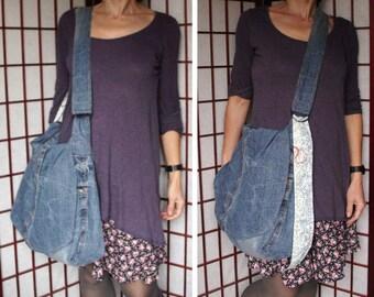 Recycled Denim Bag, Jeans Messenger Bag, Upcycled Jeans Bag, Large Denim Bag, Crossbody Slouch Bag, Ecofriendly Denim, Adjustable Strap Bag