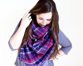 Plaid Blanket Scarf | Oversized Fringe Wrap | Frayed Edge Square Shawl | Fuchsia Pink, Purple, Blue Print Scarf | The BERRY Blanket Scarf