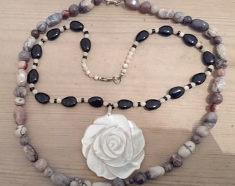 Two vintage agate and mother of pearl bead necklaces