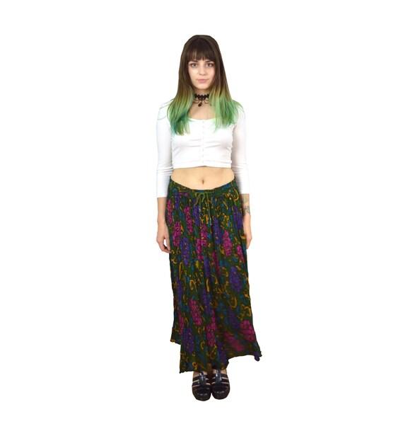 90 floral maxi skirt hippie boho flowy thin lightweight