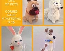 The Secret Life of Pets Crochet Patterns Combo Pack - Max/Snowball/Mel/Gidget - pdf only