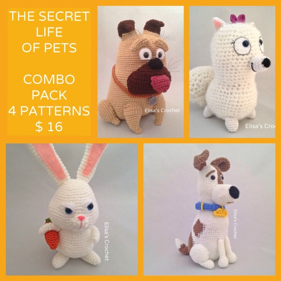 Crochet Patterns Pets : The Secret Life of Pets Crochet Patterns Combo Pack - Max/Snowball/Mel ...