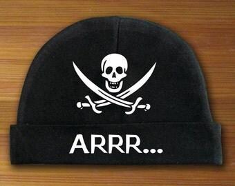 Arrr... Skull and Crossbones Beanie Hat for Babies White and Black