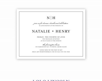 Classic Monogram Rehearsal Dinner Invitations, Classic Invitations, Monogram Invitations, Traditional Black Invitations, Rehearsal Party