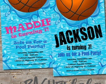 Basketball Pool, Birthday Invitation, Printable,, swim party