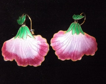 Pink Floral Cloisonné Enamel on Silver Earrings, 1970s