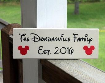 Personalized Disney Sign, Disney Sign, Disney Family Established Sign, Family Est. Sign, Disney Date, Disney Decor