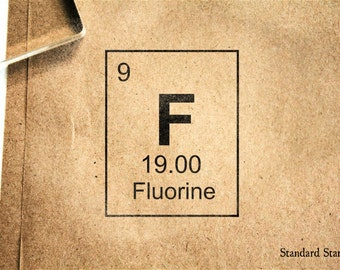 Letter k block rubber stamp 4 x 4 inches custom date fluorine periodic table rubber stamp 2 x 2 inches urtaz Gallery