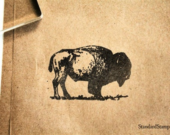 American Bison Rubber Stamp - 2 x 2 inches