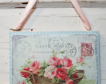 Rose Chic French Paris Sign Plaque Shabby Wall Decor Made from Wood Sign