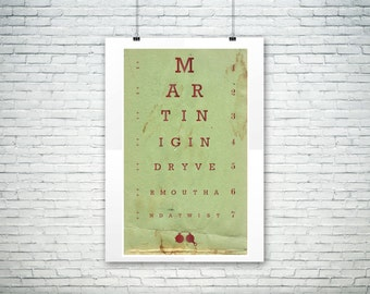 Martini Recipe, Bar Art Eyechart Poster Wall Decor, Poster Design