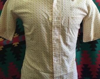 Vintage 70s Crocodile Short Sleeve Button Up Shirt