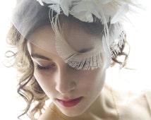 White fascinator ivory bridal fascinator feather fascinator bridal headpiece bridal hair accessory wedding veil alternative mini hat GRACE