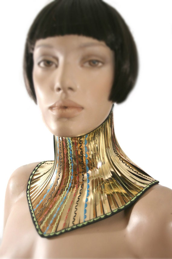 gold african tribal neck corset armor necklace gothic choker
