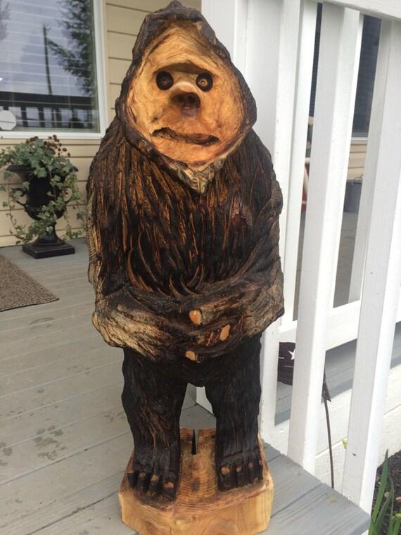 New Chainsaw Carved Bigfoot Yeti Sasquatch Cedar By