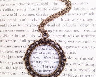 Handmade Pride and Prejudice Elizabeth Bennet Quote Glass Necklace // Jane Austen Book Necklace