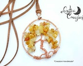Copper tree of life long pendant and Amber chips | Tree of Life Pendant