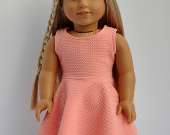 Coral Sleeveless Skater Dress made to fit American Girl Doll 18 Inch Doll Clothes