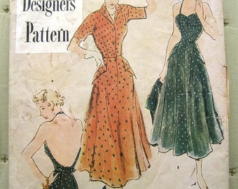 "Vintage 50s Rockabilly Halter Sun Dress & Jacket.  Simplicity 8003 Designer Sewing Pattern.  Bust 32"""